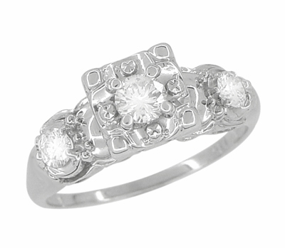 Retro Moderne Fishtail Illusion Antique Diamond Engagement Ring in 14 Karat White Gold - Item R603 - Image 1