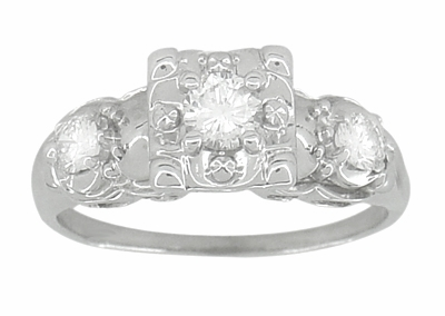 Retro Moderne Fishtail Illusion Antique Diamond Engagement Ring in 14 Karat White Gold - Item R603 - Image 2