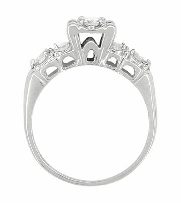 Retro Moderne Fishtail Illusion Antique Diamond Engagement Ring in 14 Karat White Gold - Item R603 - Image 3