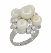 Retro Moderne Flowers and Leaves Vintage Pearl Cluster Ring in 14 Karat White Gold