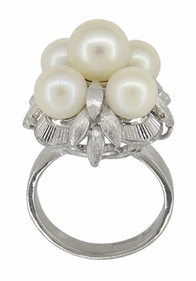 Retro Moderne Flowers and Leaves Vintage Pearl Cluster Ring in 14 Karat White Gold - Item R416 - Image 1