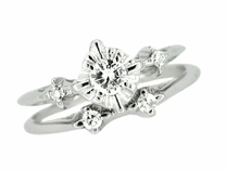 Retro Moderne Galaxy Wedding Set in 14 Karat White Gold