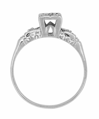 Retro Moderne Hearts and Clover Vintage Diamond Engagement Ring in 14 Karat White Gold - Item R793 - Image 1