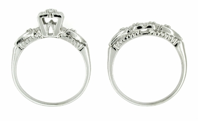 Retro Moderne Hearts and Clovers Diamond Wedding Set in 14 Karat White Gold - Item R214 - Image 1