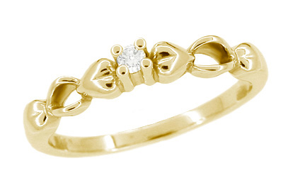 Retro Moderne Hearts Diamond Engagement Ring in 14 Karat Yellow Gold