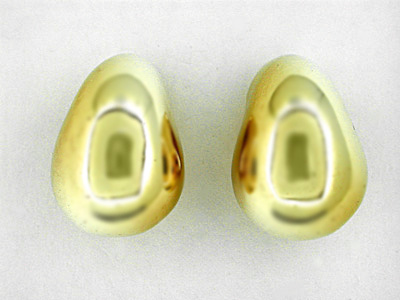 Retro Moderne Heavy Teardrop Clip Antique Earrings in 14 Karat Yellow Gold