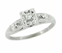 Retro Moderne Lucky Clover Diamond Antique Engagement Ring in 14 Karat White Gold