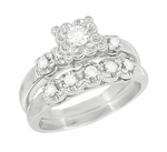 Retro Moderne Lucky Clover White Sapphire Engagement Ring and Wedding Ring Set in 14 Karat White Gold