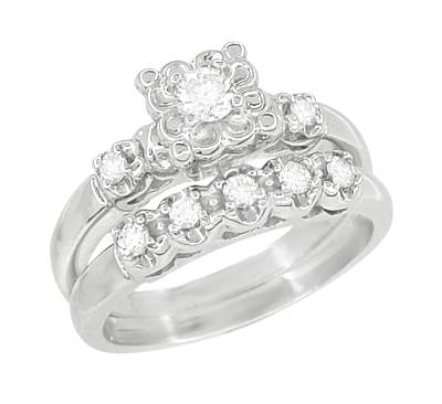 Lucky Clover Retro Moderne White Sapphires Wedding Set in 14K White Gold