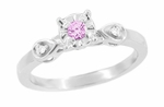 Retro Moderne Pink Tourmaline and Diamond Engagement Ring in 14 Karat White Gold