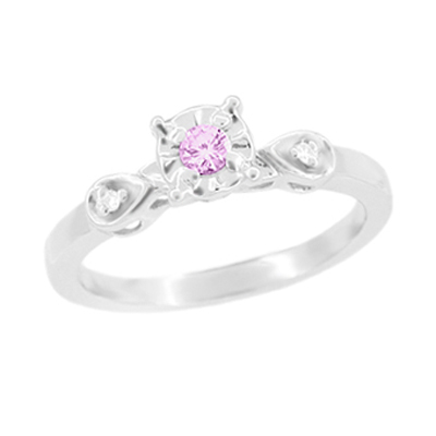 Retro Moderne Pink Tourmaline and Diamond Promise Ring in 14 Karat White Gold