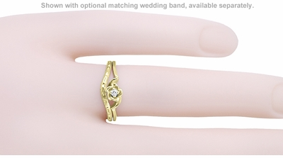 Retro Moderne Rose Diamond Promise Ring in 14 Karat Yellow Gold - Item R377Y - Image 2