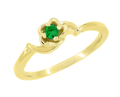Retro Moderne Rose Emerald Ring in 14 Karat Yellow Gold - May Birthstone
