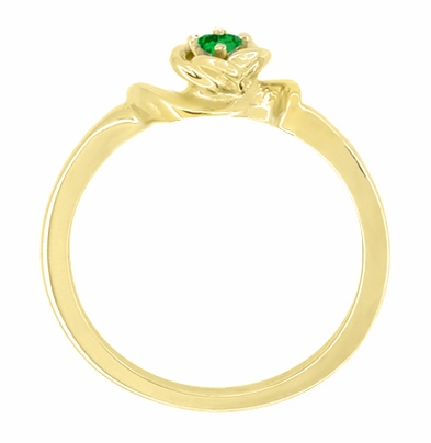Retro Moderne Rose Emerald Ring in 14 Karat Yellow Gold - May Birthstone - Item R377YE - Image 1