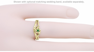 Retro Moderne Rose Emerald Ring in 14 Karat Yellow Gold - May Birthstone - Item R377YE - Image 2