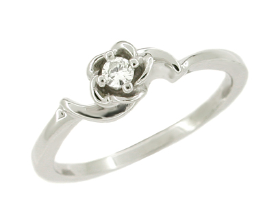 Retro Moderne Rose White Sapphire Engagement Ring in 14 Karat White Gold