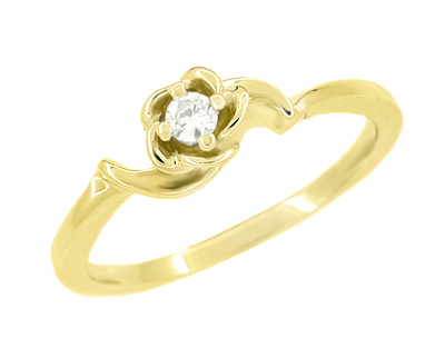 Retro Moderne White Sapphire Rose Promise Ring in 14 Karat Yellow Gold
