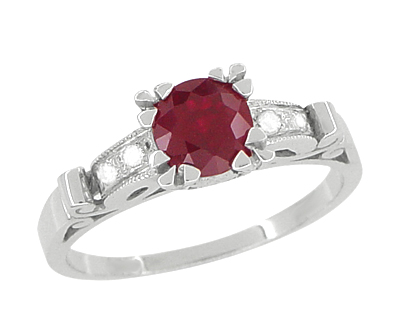 Ruby and Diamonds Art Deco Engagement Ring in 18 Karat White Gold
