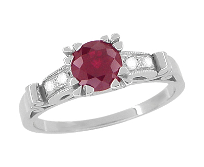 Art Deco Ruby and Diamond Engagement Ring in Platinum