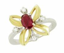 "Retro Moderne Ruby and Diamond Galaxy ""Right Hand"" Vintage Ring in 14 Karat Yellow and White Gold"