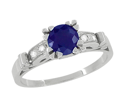 Sapphire and Diamonds Art Deco Engagement Ring in 18 Karat White Gold