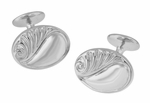 Retro Moderne Scroll Waves Engravable Cufflinks in Sterling Silver