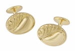 Retro Moderne Scroll Waves Engravable Cufflinks in Sterling Silver with Yellow Gold Vermeil