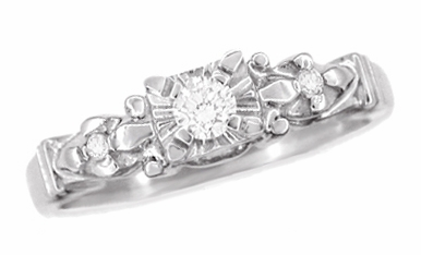Retro Moderne Starburst Galaxy Engagement Ring in Platinum - Item R481P - Image 2