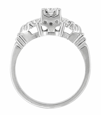 Retro Moderne Starburst Galaxy Engagement Ring Set in Platinum - Item R481PSET - Image 2