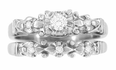 Retro Moderne Starburst Galaxy White Sapphire Engagement Ring and Wedding Ring Set in 14K White Gold - Item R481SWS - Image 1