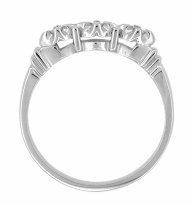 Retro Moderne Starburst Galaxy White Sapphire Wedding Ring in 14 Karat White Gold - Item WR481WS - Image 2