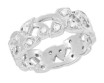 Retro Moderne Vintage Leaves Filigree Wedding Band Set with Diamonds in 18 Karat White Gold