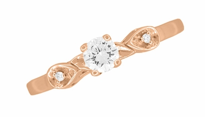 Retro Moderne White Sapphire Engagement Ring in 14 Karat Rose Gold - Item R380R25WS - Image 3
