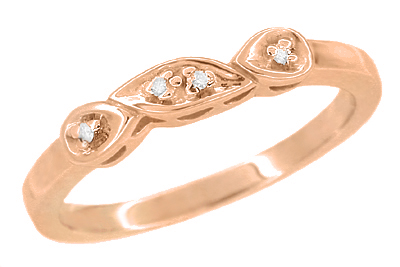Retro Moderne White Sapphire Filigree Wedding Ring - 14K Rose Gold