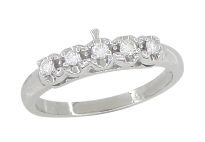 Retro Moderne White Sapphire Filigree Wedding Ring 14K White Gold