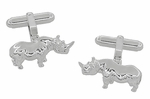 Rhinoceros Cufflinks in Sterling Silver - Rhino Cufflinks