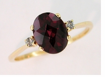 Rhodolite Garnet and Diamond Ring in 14 Karat Gold