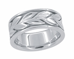 Engraved Eternal Leaves Heavy Wide Wedding Band - 8mm Wide - 14K White Gold