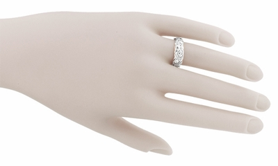 Ring Size 6.5 - Engraved Roses Wide Retro Band in Sterling Silver  - Item SSR1144 - Image 2