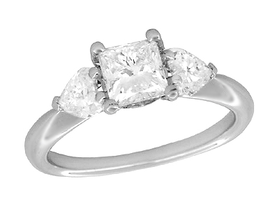 Ritani 1 Carat Princess and Heart Shaped Diamonds 3 Stone Engagement Ring in Platinum - 1.60 Carats Total Diamond Weight