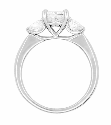 Ritani 1 Carat Princess and Heart Shaped Diamonds 3 Stone Engagement Ring in Platinum - 1.60 Carats Total Diamond Weight - Item R1168 - Image 2