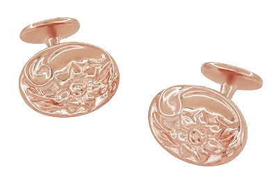 Rose Gold Victorian Sunflower Cufflinks in Sterling Silver Vermeil