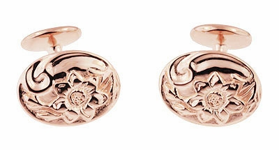 Rose Gold Victorian Sunflower Cufflinks in Sterling Silver Vermeil - Item SCL224R - Image 2