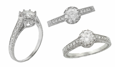 Royal Crown 1/2 Carat Antique Style Engraved 18K White Gold Engagement Ring Setting | 5.5mm Round Ring Mount - Item R460W50 - Image 2