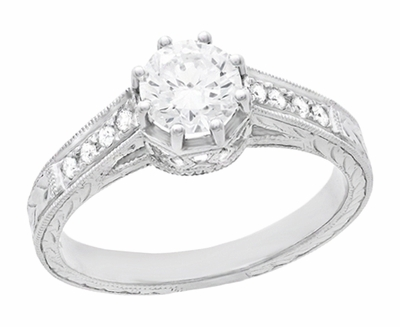 Royal Crown 1/2 Carat Antique Style Engraved Engagement Ring in 18 Karat White Gold - Item R460D - Image 1