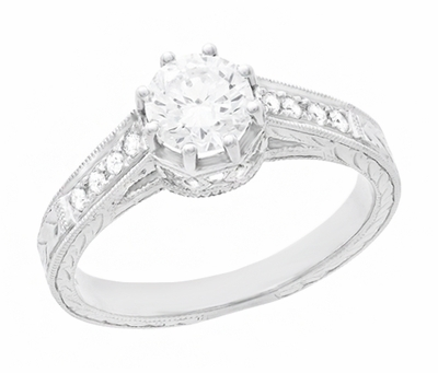 Royal Crown 1/2 Carat Antique Style Engraved Engagement Ring in Platinum - Item R460PD - Image 1