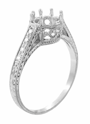 Royal Crown 1.25 (1 1/4) Carat Antique Style Platinum Engraved Engagement Ring Setting - Item R460P125 - Image 1