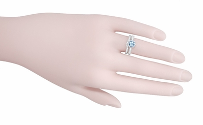 Royal Crown 1 Carat Aquamarine Antique Style Engraved Engagement Ring in 18 Karat White Gold - Item R460A - Image 5