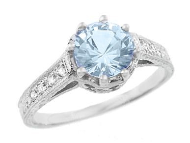 Royal Crown 1 Carat Aquamarine Antique Style Engraved Engagement Ring in Platinum