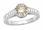 Vintage 1 Carat Champagne Diamond Engagement Ring in 18K White Gold - Art Deco Crown - EGL Certified